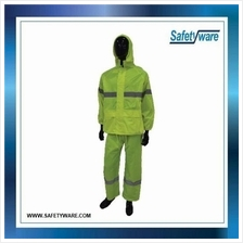 SAFETYWARE High Quality Polyester Neon Green Rain Coat with Silver Ref