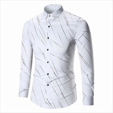 BUTTON UP LONG SLEEVE PRINTED SHIRT (WHITE)