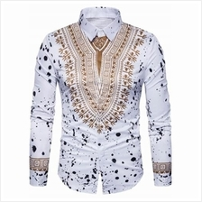 ETHNIC GEOMETRIC SPLATTER PAINT PRINT SHIRT (WHITE)