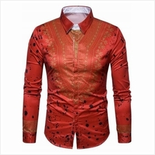 ETHNIC GEOMETRIC SPLATTER PAINT PRINT SHIRT (RED)