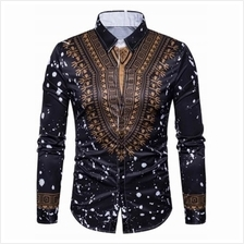 ETHNIC GEOMETRIC SPLATTER PAINT PRINT SHIRT (BLACK)