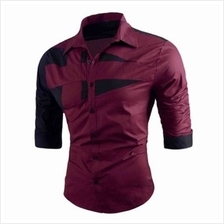 TURN-DOWN COLLAR TWO TONE SHIRT (RED)