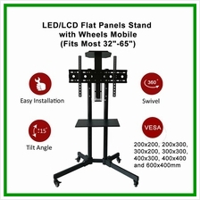 LED/LCD TV Flat Panels Stand with Wheels Mobile(Fits Most 32'-65')