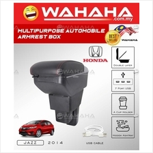 HONDA JAZZ 2014 3USB Port 2 Layer Adjustable PVC Red Stitching Armrest