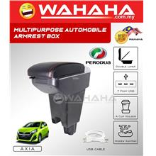 PERODUA AXIA 3 USB Port 2 Layer Adjustable PVC Red Stitching Armrest