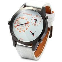 SHIWEIBAO 9399 MALE 3 MOVT QUARTZ WATCH WITH LEATHER BAND ROUND DIAL (WHITE)