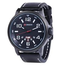 CURREN 8240 FASHION WATER RESISTANT MALE QUARTZ WATCH WITH LEATHER STRAP (WHIT