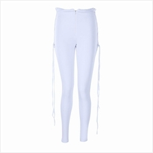 WOMEN STYLISH PURE COLOR EYELETS CRISS CROSS LEGGING