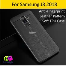 Samsung J8 2018 Anti Fingerprint Leather Pattern Soft TPU Case