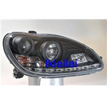 Mercedes Benz W220 S350 Projector Head Lamp [R8 LED DRL Look][Black]
