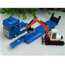 HY Truck 1/50 Diecast Low Loader Truck Carrier Crawler Excavator