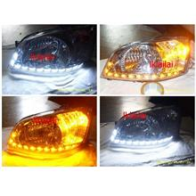 Hyundai GETZ '04-06 Cryatal Head Lamp + 2-Function DRL R8 [Chrome]