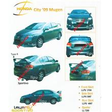 Honda City '09 Mugen Style Full Set Skirting + Spoiler PU Body Kit
