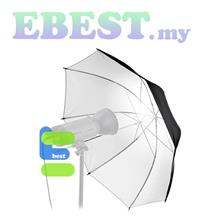 110CM Silver Black Umbrella Speedlite Flash Bounce Reflector Umbrella