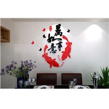 3D Acrylic Crystal Living Room Wall Sticker Four Words (L)