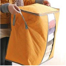 Bamboo Charcoal Non Wooven Quilt Blanket Storage Bag (Tall Orange)
