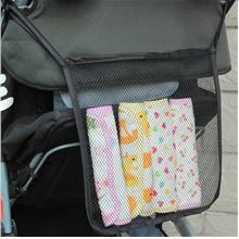 Baby Stroller Diaper Hanger Storage Net Bag (Black)