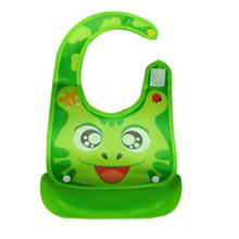 Waterproof Cartoon Pattern Baby Bibs Feeding Bibs- Green