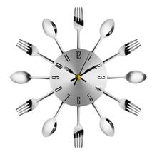 Novel Stainless Steel Knife Fork Spoon Analog Wall Clock Home Decorati..