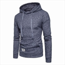KNITTED DROP SHOULDER DRAWSTRING PULLOVER HOODIE (DEEP GRAY)
