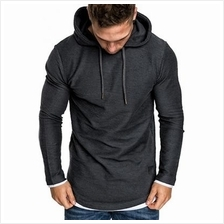 Contract Color Drawstring Pullover Hoodie (GRAY)