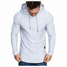 Contract Color Drawstring Pullover Hoodie (LIGHT GRAY)