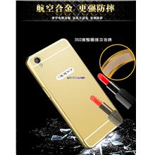 Oppo A37 24k Mirror Metal Frame Hard Back Cover Casing+Tempered Glass