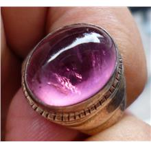 NATURAL PINK TOURMALINE CRYSTAL WITH RING