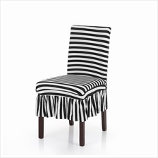Pleated Black White Stripes Ruffled Stretch Removable Washable Dining Chair Co