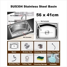 SUS 304 Stainless Steel Kitchen Single Bowl Basin Sink 56*41cm 2450.1