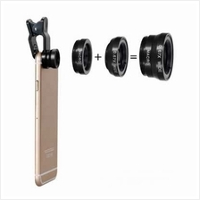 Three-In-One Phone Lens Fisheye/Wide/Telephoto Lens (BLACK)