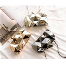 Abstract Metal Clutch Bag Chain Sling Bag Women Evening Bag