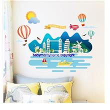 Dream City Living Room Bedroom Kids Room Self-adhesive Wall Stickers