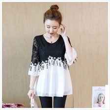 Maternity Clothing Tops Pregnant Women Chiffon Blouse Lace Sleeve Doll