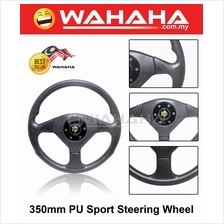 NEW 8918 350mm Black PU Racing Car Sport Steering Wheel + Horn Button