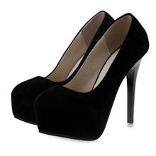 SEXY SOLID COLOR LADIES THIN HIGH HEEL SHOES (BLACK)