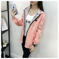 (Ready Stock) Women's Fashion Two Sided Print Wear Hooded Loose Pocket