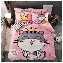 Pretty Cartoon Flannel Bedding Set 3PCS (ORANGE PINK)