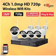 4CH 720p Wireless Wifi CCTV IP Camera Kits (1 Year Local Warranty)