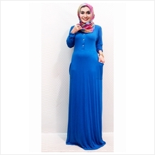 Fashion Half Button Jubah Dress With Pockets (Including Shawl)