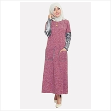Fashion Classic Half Stripe Sleeve Modern Jubah Dress With Pockets