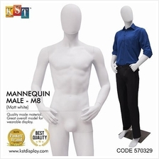Mannequin Male Full Body Matte White For Clothes Garment Display