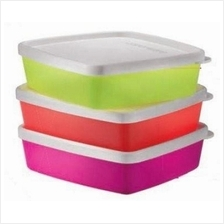 Tupperware Neon Shallow Square Round (3) 250ml