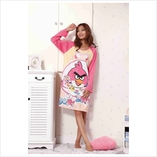 Cute Angry Bird With Pink Color Long Sleeve Nightshirt