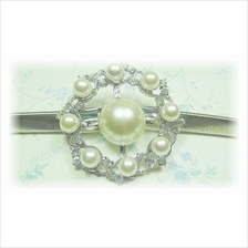 Fashion Silver Plated Belt With Wheel-Like Shape Pearls