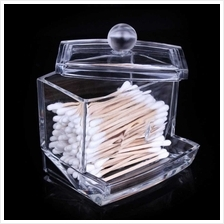 New Acrylic Cotton Swabs Storage Holder Box Transparent Makeup Case Cosmetic C