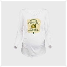 Maternity Shirt Long Sleeve O-Neck Footprint Funny Pregnancy Mom Tops Tee