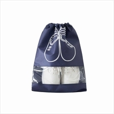 Household Travel Dust-proof Shoe Organizer Bags with Drawstring Transparent Wi
