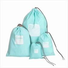 4pcs/lot Set Travel Storage Bag Waterproof Nylon Drawstring Pouch Men and Wome