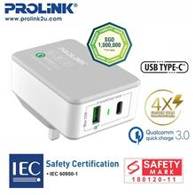 PROLiNK PTC23301 Type C Qualcomm QC3.0 2-Port Travel Charger 30W